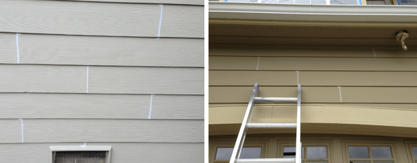 We seal all butt-joints (the vertical connection between two pieces of siding) only if previously caulked. Correctly installed siding has flashing behind the siding, rendering sealing the butt-joint useless, but if your siding was previously caulked, we are happy to remove any loose-chipping caulking material and apply a fresh coat of the material specified in your estimate document.  Hardie plank, or fiber cement siding that has been previously caulked, will be re-caulked with our special sealant - SIKKA® - which is specifically designed to adhere to artificial siding.  This product is recommended for all fiber cement siding and is far stronger than the typical painters caulking used on wood surfaces.