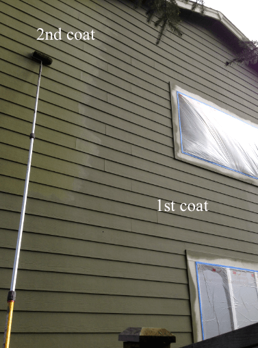 rolling paint on siding